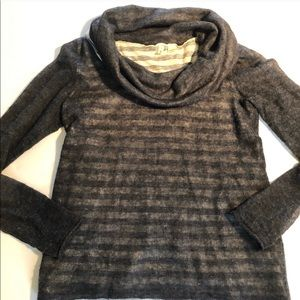 ANTHROPOLOGY Moth Gray/Cream Cowl Lined SWEATER S